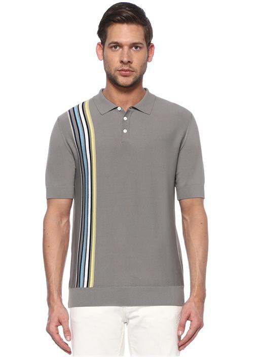 Gri Yanı Dikey Çizgili Polo Yaka T-shirt