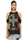 Ian Guns And Roses Siyah Omzu Açık T-shirt