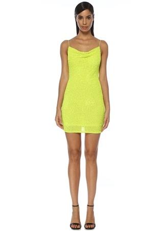 Alice+Olivia Kadın Neon Sarı Degajeli Payetli Mini Elbise 4 US