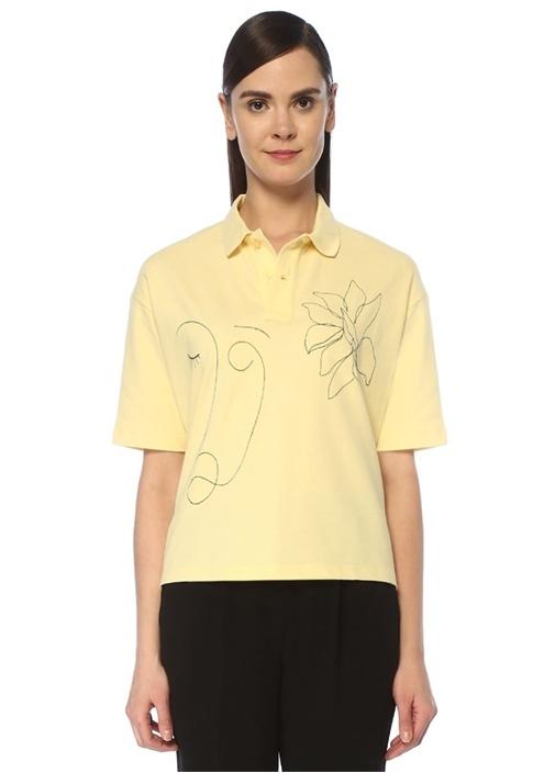 Sarı Polo Yaka Nakış Detaylı T-shirt