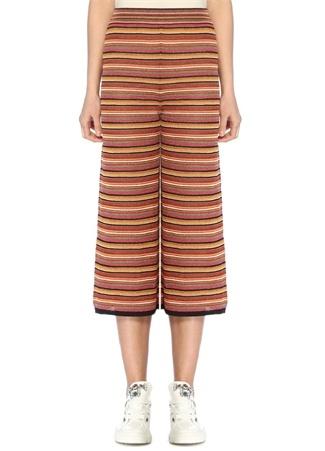 Beymen Club Kadın Simli Çizgili Bol Paça Crop Triko Pantolon XS Çok Renkli female