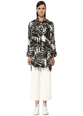 Beymen Club Kadın Siyah Beyaz Kapüşonlu Palmiye Desenli İpek Parka L female