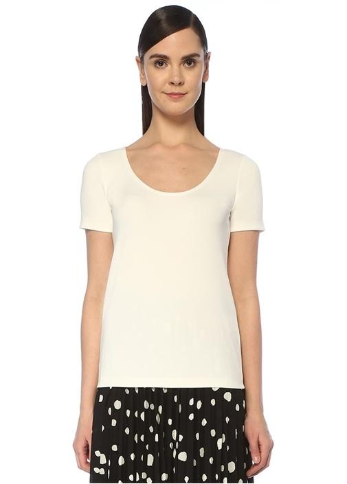 Beyaz U Yaka Dikişsiz T-shirt