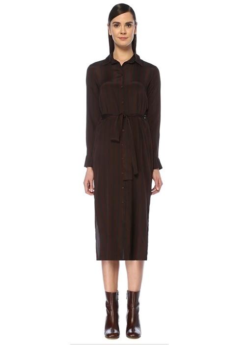 Kahverengi Çizgili Kuşaklı Midi İpek Gömlek Elbise