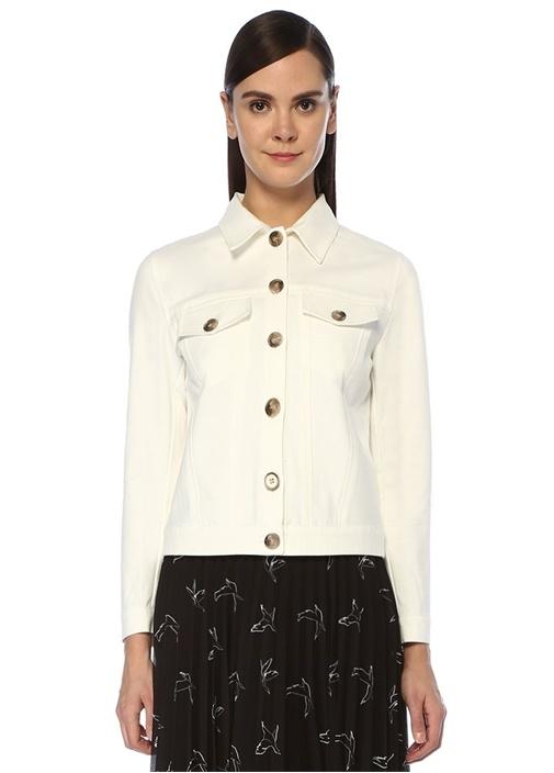 Beyaz Düğmeli Dokulu Ceket
