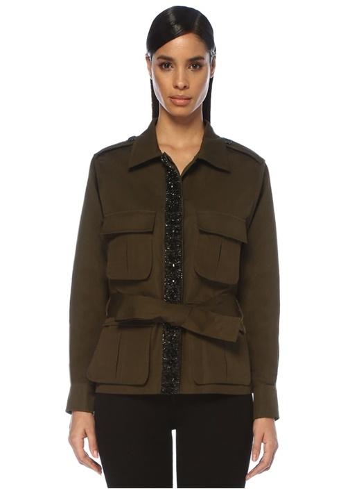 Haki Siyah İşleme Detaylı Kuşaklı Ceket