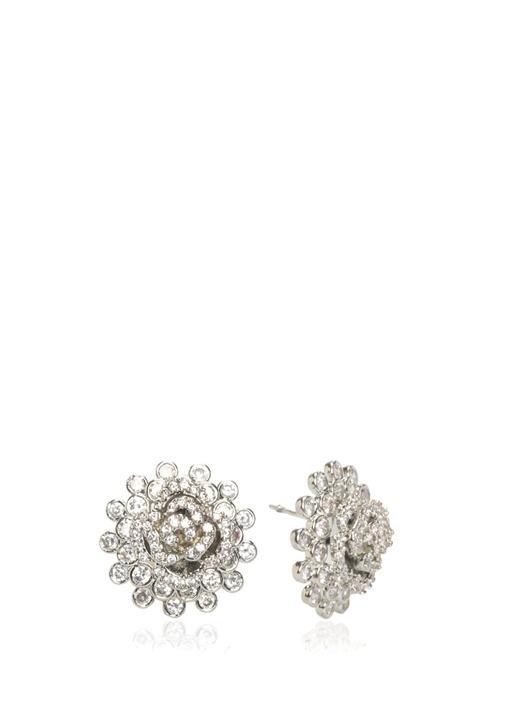 Silver Taşlı Çiçek Formlu Kadın Küpe