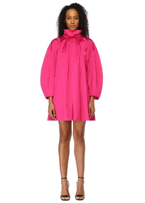 Frou Frou Fuşya Dik Yaka Pileli Mini Elbise