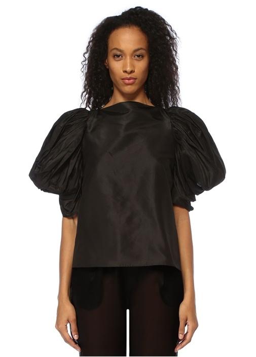 Lolita Siyah Balon Kol İpek Bluz