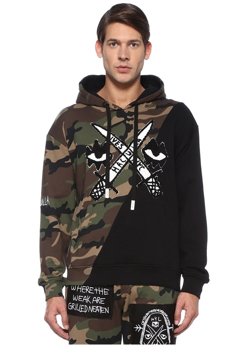 Lives Diagonal Kapüşonlu Kamuflajlı Sweatshirt