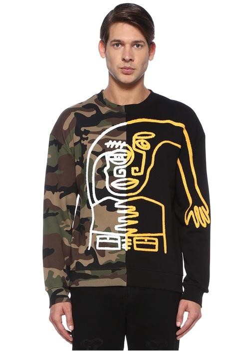 Dizzy Siyah Kamuflaj Detaylı İşlemeli Sweatshirt