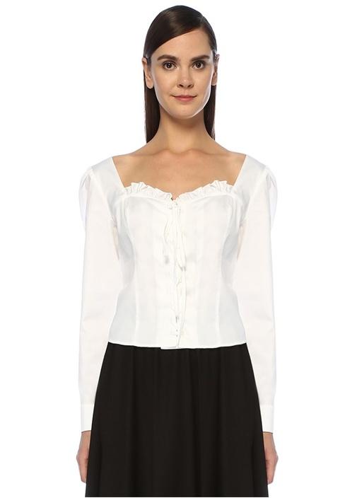 Isabella Beyaz Kalp Yaka Bağcıklı Poplin Bluz