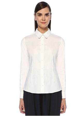 Cora Beyaz Sırtı Nakış Detaylı Gömlek