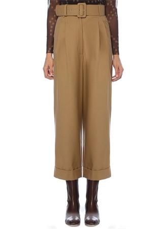 Kenza Kamel Yüksek Bel Kemerli Yün Pantolon