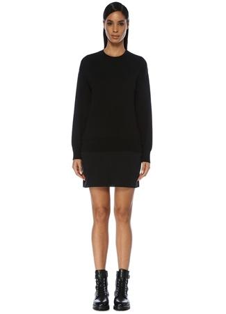 Tru Kadın Siyah İpek Etekli Lightweight Merino Triko Elbise M/L EU