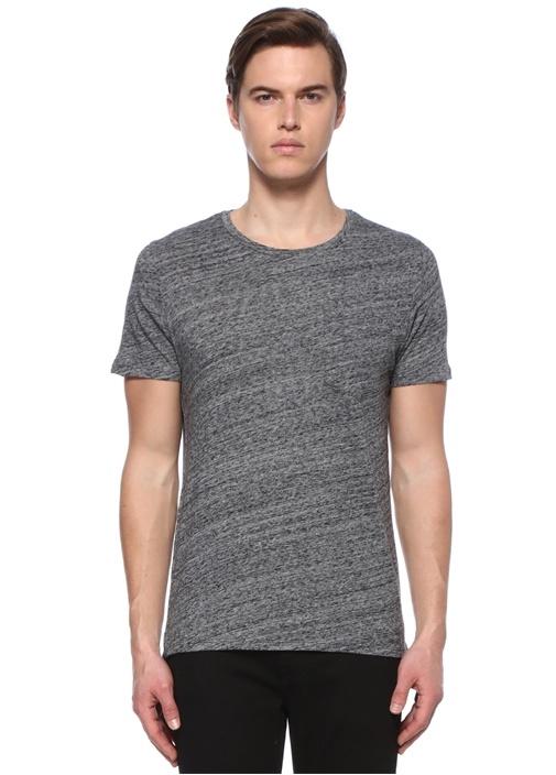 Gri Kırçıllı Bisiklet Yaka Basic T-shirt