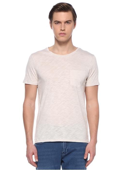 Bej Bisiklet Yaka Basic T-shirt