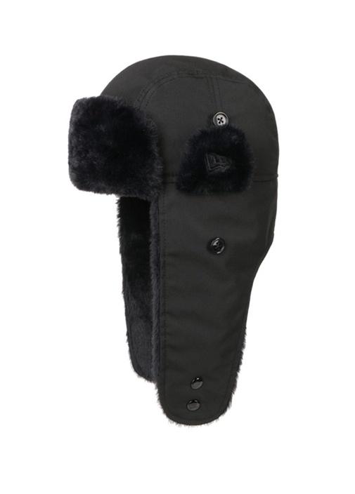 Siyah Suni Kürk Detaylı Erkek Şapka