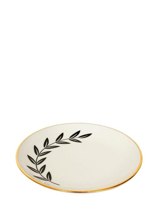 Zeytin Dalı Yaprak Desenli Porselen Cookie Tabağı