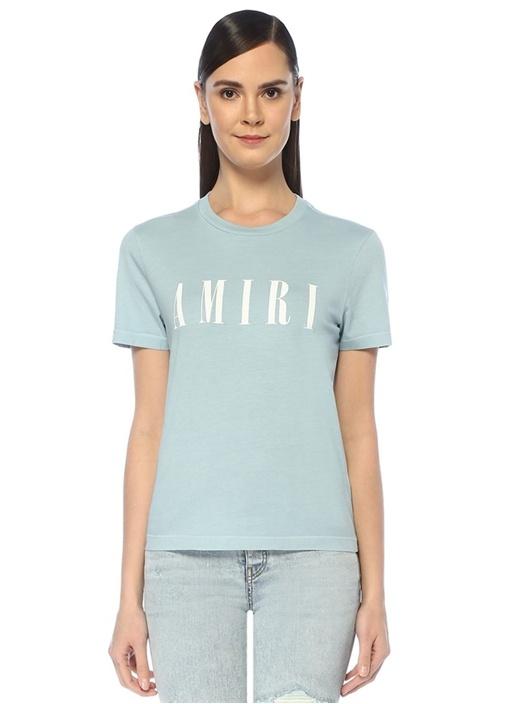 Mavi Beyaz Logo Baskılı T-shirt