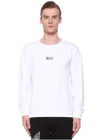 Boy London Erkek Beyaz Logo Kabartmalı Sweatshirt M EU male