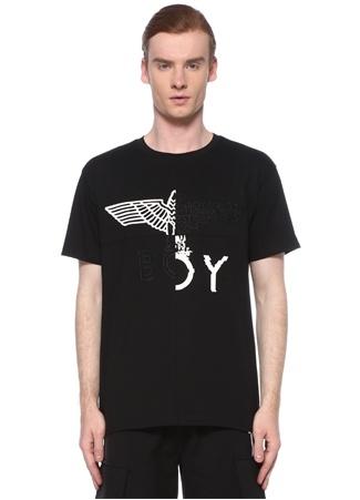 Boy London Erkek Siyah Beyaz Logo Baskılı Nakışlı T-shirt EU male