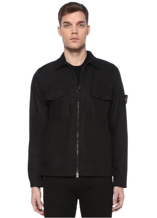 Siyah Polo Yaka Dış Gömlek