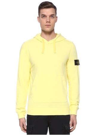 Stone Island Erkek Sarı Kapüşonlu Sweatshirt EU male