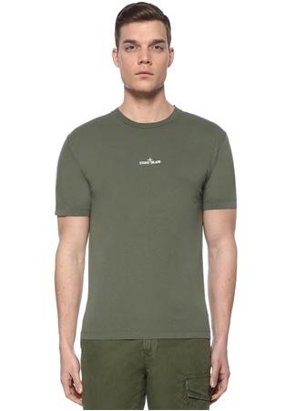 Stone Island Erkek Haki Logo Baskılı T-shirt EU male