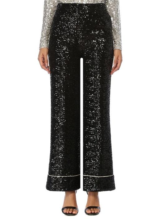 Wonder Siyah İşlemeli Bol Paça Pijama Pantolon