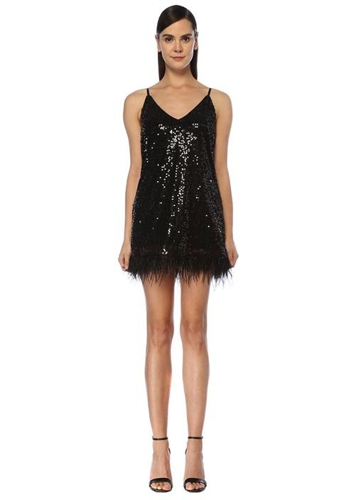 Siyah V Yaka İşlemeli Tüylü Mini Kokteyl Elbise