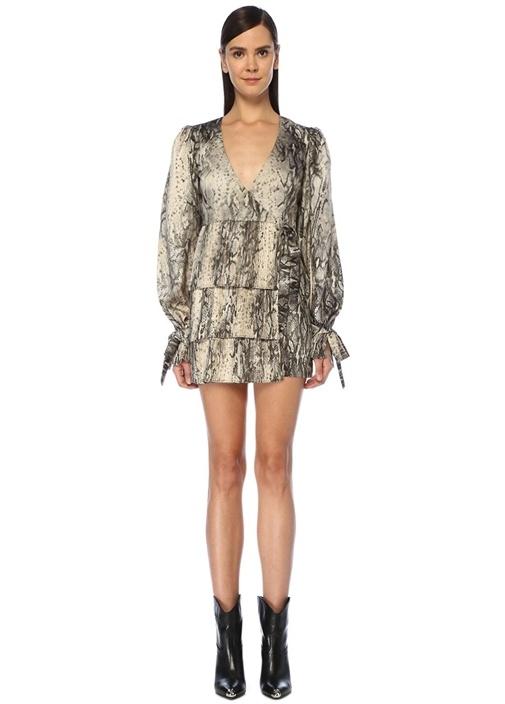 V Yaka Yılan Derisi Desenli Mini Anvelop Elbise