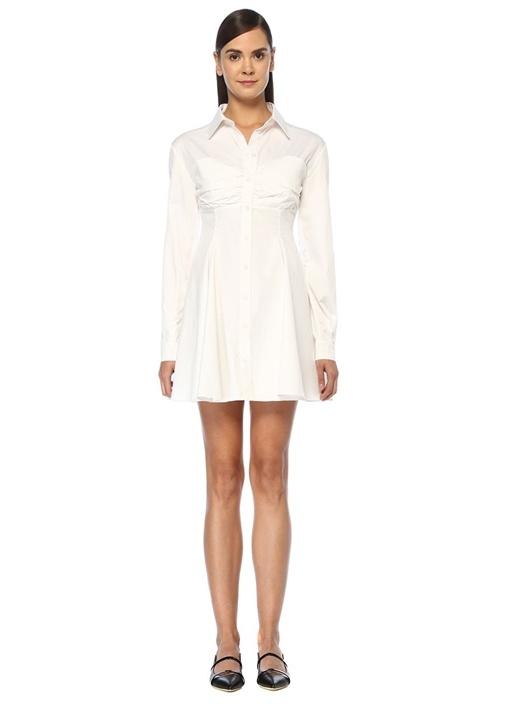 Beyaz Drape Detaylı Mini Poplin Gömlek Elbise