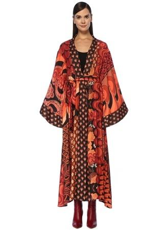Oopscool Kadın Turuncu Desenli Beli Kuşaklı Krep Kimono 3 EU
