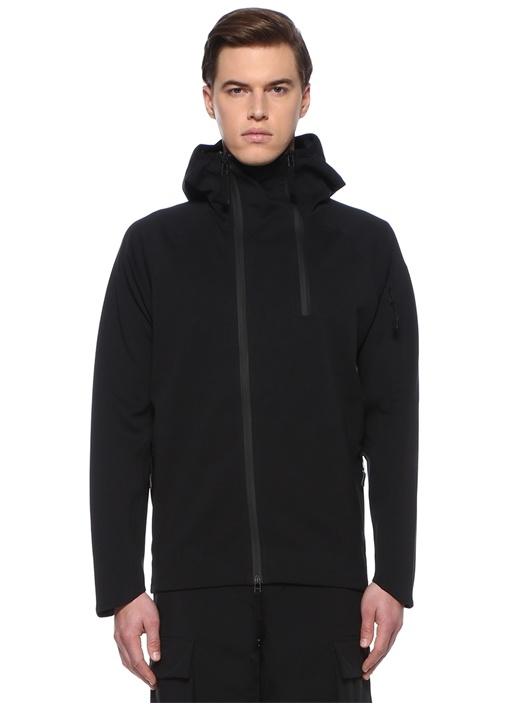 Siyah Dik Yaka Asimetrik Fermuarlı Ceket