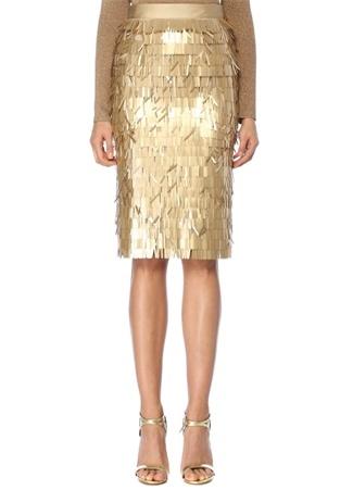 Maison Kairos Kadın California Gold Payet İşlemeli Midi Etek Altın Rengi 38 EU