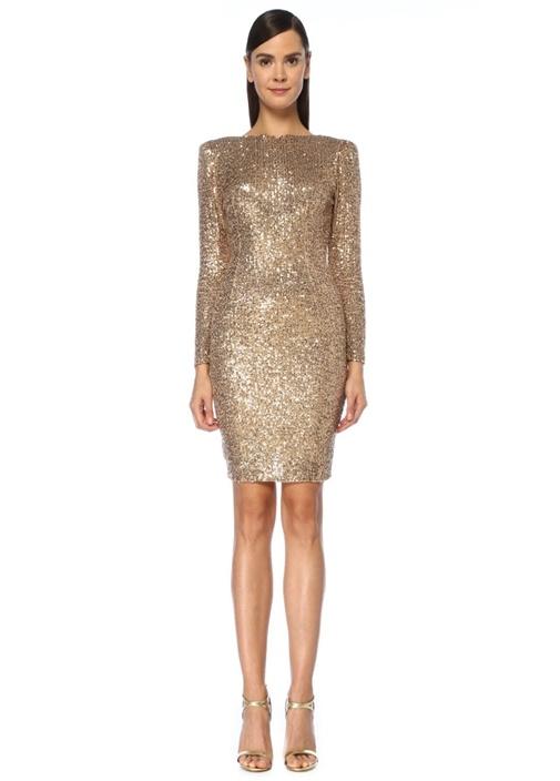 Dubai Gold İşlemeli Sırtı Açık Mini Kokteyl Elbise