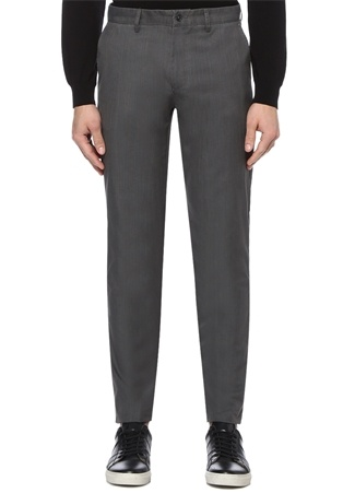 Gri Normal Bel Çizgili Dar Paça Spor Pantolon