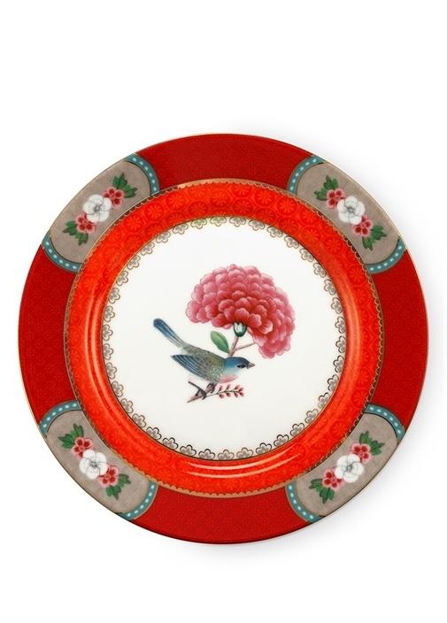 Blushing Birds Kırmızı Porselen Tabak