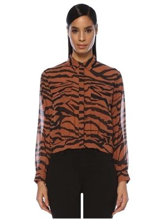 Kadın Adeuza Kahverengi Zebra Desenli Şifon Bluz Siyah S EU