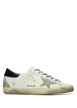 Golden Goose Erkek Superstar Beyaz Eskitme Detaylı Deri Sneaker 45 EU male