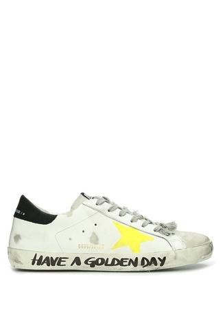Golden Goose Erkek Superstar Beyaz Slogan Detaylı Deri Sneaker 39 EU male