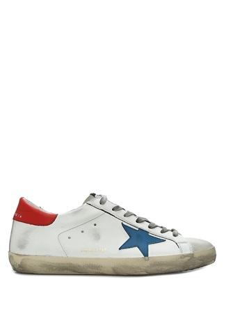 Golden Goose Erkek Superstar Beyaz Logolu Deri Sneaker 44 EU male