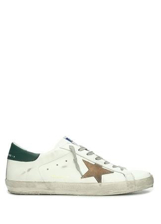 Golden Goose Erkek Superstar Yeşil Deri Sneaker Beyaz 45 EU male