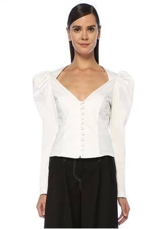 Muse For All Kadın Beyaz Kesim Detaylı Karpuz Kollu Gömlek 38 EU