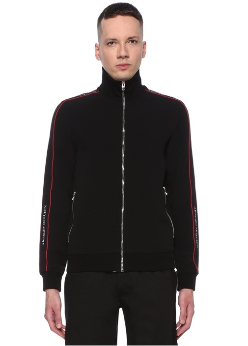 Siyah Dik Yaka Kolu Şerit Logolu Sweatshirt