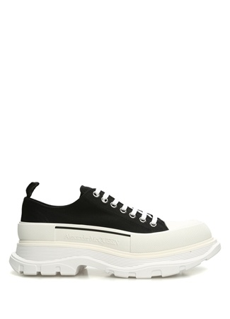 Siyah Beyaz Logolu Erkek Kanvas Sneaker