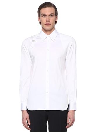 Alexander McQueen Erkek Beyaz Sivri Yaka Kemer Detaylı Dokulu Gömlek 6 2 IT male 16