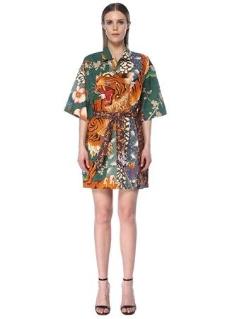 Dsquared2 Kadın Desenli Beli Kuşaklı Kısa Kol Mini Gömlek Elbise 40 IT Çok Renkli female