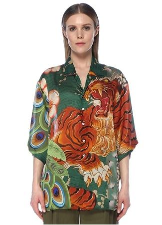Dsquared2 Kadın Kamp Yaka Desenli Kısa Kol İpek Gömlek 42 IT Çok Renkli female